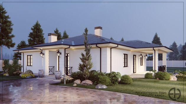 Одноэтажный дом из газобетона в Аксаково