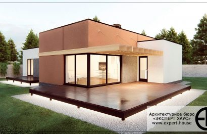 Одноэтажный дом с плоской крышей