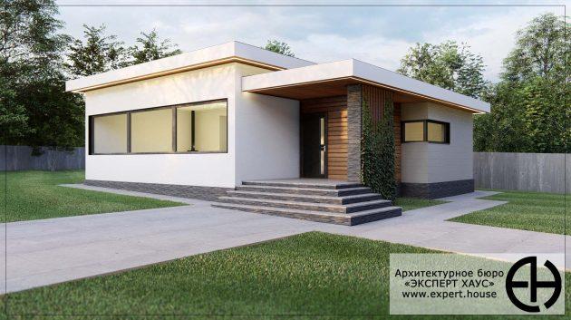 Одноэтажный дом в современном стиле из арболита