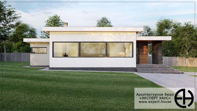 Одноэтажный дом из арболита в современном стиле